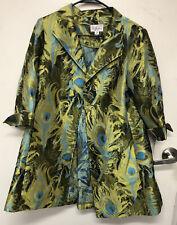 3 Sisters Jacket Open Front 3/4 Cuffed Sleeve Green Blue Medium