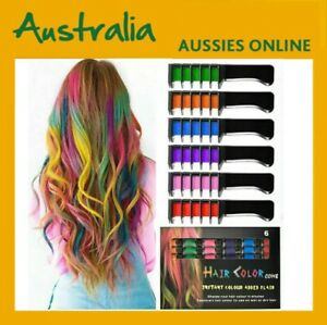 6 Color Set Temporary Hair Chalk Color Comb Dye Cosplay Washable Hair Color Comb