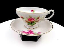 "CHERRY CHINA JAPAN PINK ROSES GOLD TRIM 2 1/4"" CUP AND SAUCER SET"