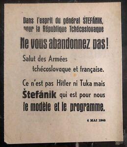 Original France Leaflet Dropped On Czechoslovakia WW2 Spirit Of General Stefanik