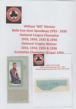 BILL KITCHEN BELLE VUE ACES SPEEDWAY 1933- 1939 RARE ORIG HAND SIGNED CUTTING