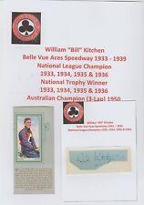 BILL cucina Belle Vue Aces SPEEDWAY 1933 - 1939 RARE ORIG Firmato a Mano Taglio