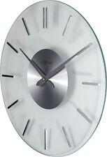Nextime Horloge Murale Rayure Inn Ø 31cm Silencieux Verre Acier Inox Montre