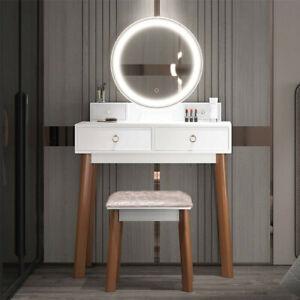 White Modern Dressing Table Set Makeup Desk w/LED Lighted Mirror & Drawer, Stool