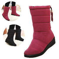 LADIES WOMENS WARM FUR LINED WINTER MIDCALF QUILTED WATERPROOF SNOW BOOTS SHOES