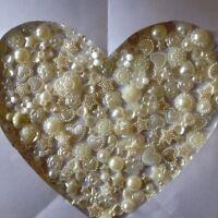 Cream x 100 Ivory Flat backs Hearts Resin Pearls Bow Flowers Embellishments
