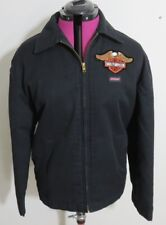 Dickies Eisenhower Ike Men's Size M Black Cotton Work Coat Jacket With Patches