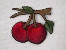 """1.38"""" Dark Red Cherry Pair on Tree Limb Embroidered Iron On Patch"""