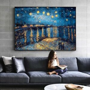 Van Gogh -Starry Night Over the Rhone A1 size (60x90cm) Canvas ArtPrint Unframed
