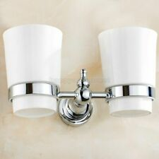 Polished Chrome Wall Mounted Bathroom Toothbrush Holder Dual Ceramics Cups
