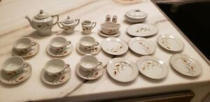 26 China Tea Set Dish Child's Tea Set Japan service for 6 Complete Teapot Wheat