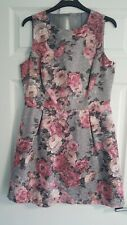 Warehouse Dress Grey And Pink Floral Size 14