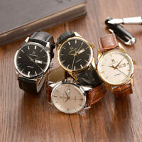ONTHEEDGE Men's Quartz calendar watch Business Leather band waterproof round
