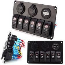 6 Gang Aluminium Red LED Rocker Switch Panel Circuit Breaker For Car RV Boat New