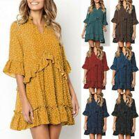 Women Summer Boho Dress Polka Dot Holiday Ruffles Sundress Beach Smock Size 6-20