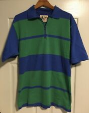 New listing �Dehen 1/2 zip Rugby stripe Polo shirt•Ss•Men's Medium•Made in Usa•Cotton•L@K!