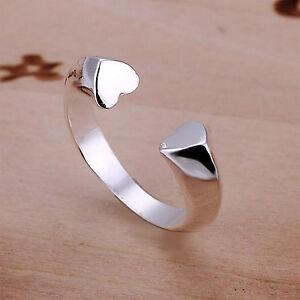 Damen Ring 925 Sterling Silber plattiert größenverstellbar Herz stylisch & cool