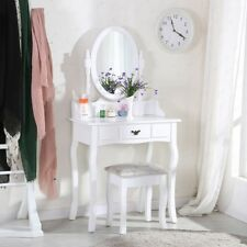 Oval Mirror Dressing Table Makeup Desk Stool Unit Sets With One Drawer Furniture