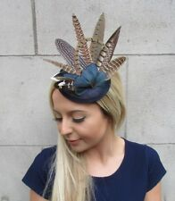 Navy Blue Pheasant Feather Pillbox Hat Fascinator Races Hair Clip Sinamay 5518