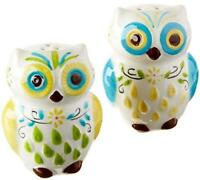 Boston Warehouse Floral Owl Salt & Pepper Shaker Set - Ceramic, Multi-Color