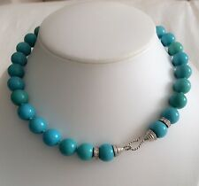 Natural turquoise necklace with 14k solid gold and diamond lock
