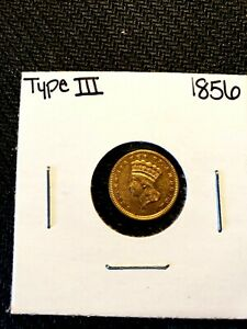 1856 Type 3 Indian Princess Gold One Dollar, GREAT DETAILS BU