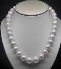 Beautiful Natural huge 10-11mm AA level white pearl necklace 18""