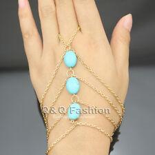 Antique Triple Turquoise Bead Zuni Bracelet Slave Chain Hand Harness Finger Ring