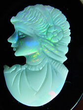 opal cameo on black onyx base, 22.9 carats total, 37 x 29 x 4mm, good fire