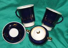 Vintage Large coffee cups mugs, saucers, sugar bowl cobalt blue gold gilded 1980