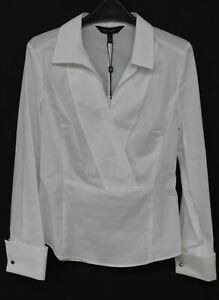 KAREN MILLEN Ladies White Cotton Long Sleeve Tailored Wrap Shirt UK10 BNWT
