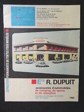 Catalogue d'accessoires automobiles sport et camping Dupuit Boulogne 1962