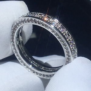 3.78TCW Round Cut Moissanite Eternity Band Engagement Ring 14K White Gold Plated