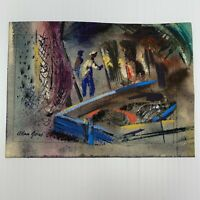 Allan Jones Nautical Painting 1915-1989 Fisherman Dock Scene Framed Art Painting