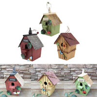3 Pieces Hand-painted Wooden Birdhouse with Jute Cord Home Outdoor Garden