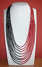 Nine Strand Red Coral and Black Onyx Beaded Women's Necklace