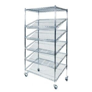 Bread Stand for Bakery Shops with Angled Shelves Chrome Wire