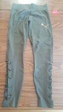 NWT Puma Cutout Side Lace Up Leggings Olive Night Green Pants  Women's Size L