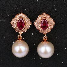 G14K Rose Gold 7.60TCW Natural Ruby Diamond Freshwater Pearl Screw Stud Earrings