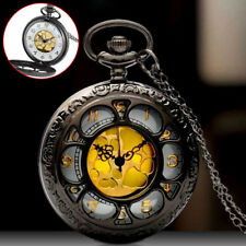 Watch Necklace Chain Pendant Antique Mens Black Vintage Dial Quartz Retro Pocket
