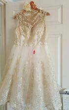 Brand New with Tags size 16 Chi Chi Wedding Dress Tea Length Cream Gold Lace