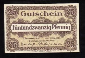 GERMANY (Weimar Republic) 25 Pfennig Notgeld, 1919, UNC World Currency