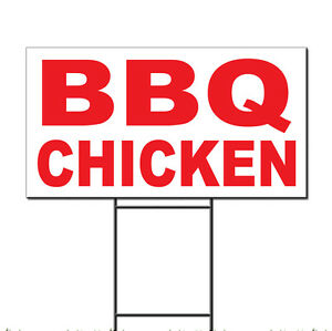 Bbq Chicken Red Corrugated Plastic Yard Sign /Free Stakes