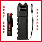 SNIPER & SABRE Self-Defense Kit w/ Pepper Spray & Stun Gun w/ Flashlight,