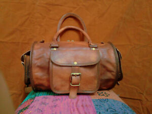 New Men's genuine Leather Small vintage duffle travel gym weekend overnight bag