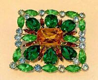 "Rare Vintage Huge 3"" Juliana D&E Silvertone Green Glass Rhinestone Brooch Pin"