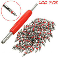 100Pcs Car Truck Replacement Tire Tyre Valve Stem Core Part With Wrench UQ