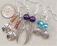 FREE SHIP Earrings Set 3 Sand Dollar Angel Wings Shell Czech Glass Beads #777