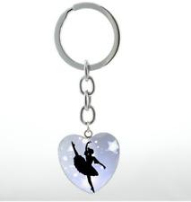 Elegant Ballet Dancing Ballerina Dancer heart Keyring key Chain Gift.