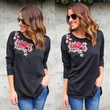 Damen Blumen Bluse Top Langarm Freizeit Pullover Sweatshirt T-shirt Oberteil DE